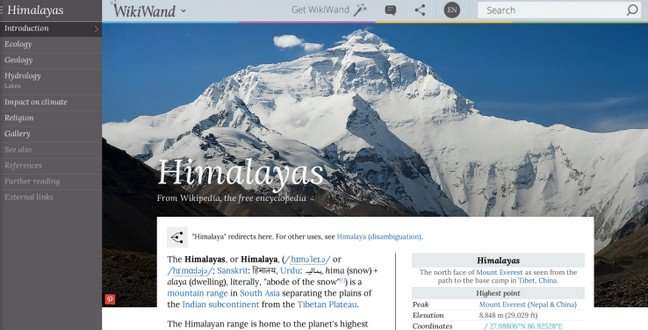 WikiWand – ulepšajte sajt Wikipedia ovim sjajnim dodatkom